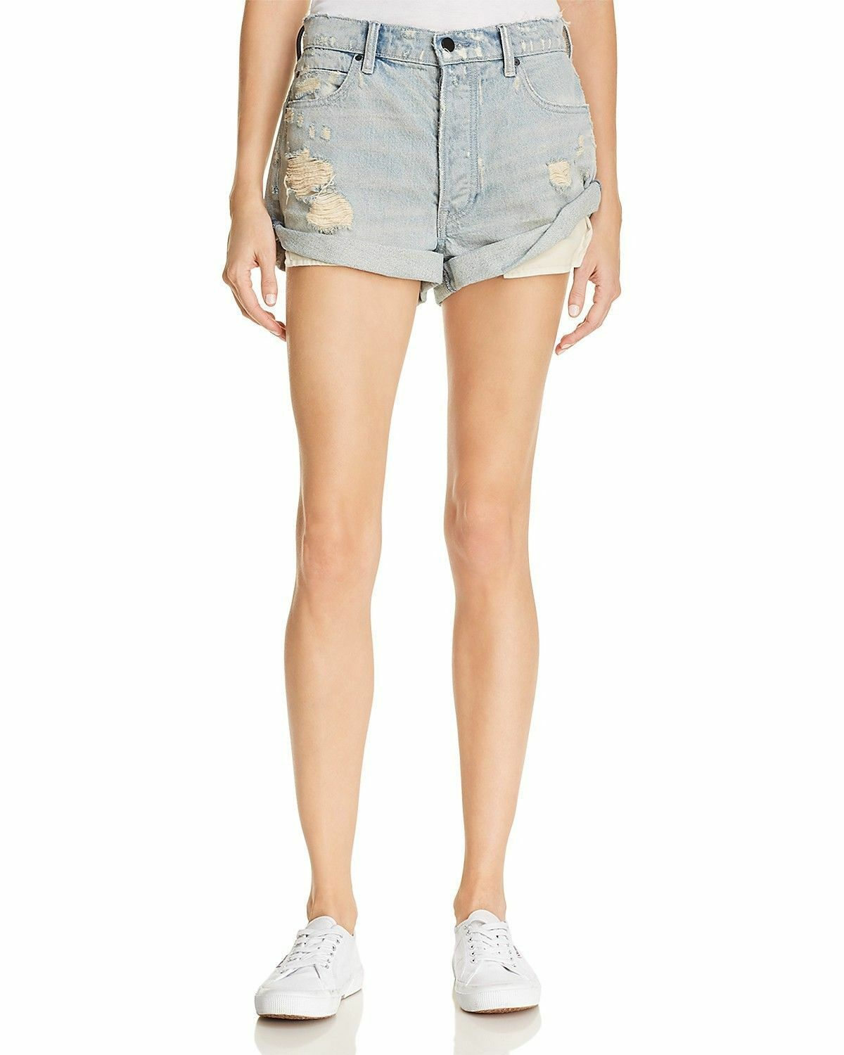 T by Alexander Wang Hike Cuffed Denim Shorts in Vintage Bleach Size 27 Destroyed