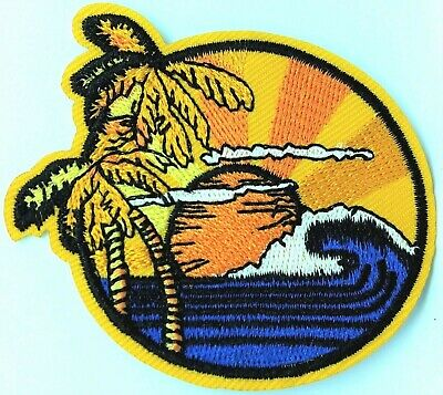 Iron on Applique//Embroidered Patch Palm Tree Ocean Waves//Sunset//Bach//Tropical