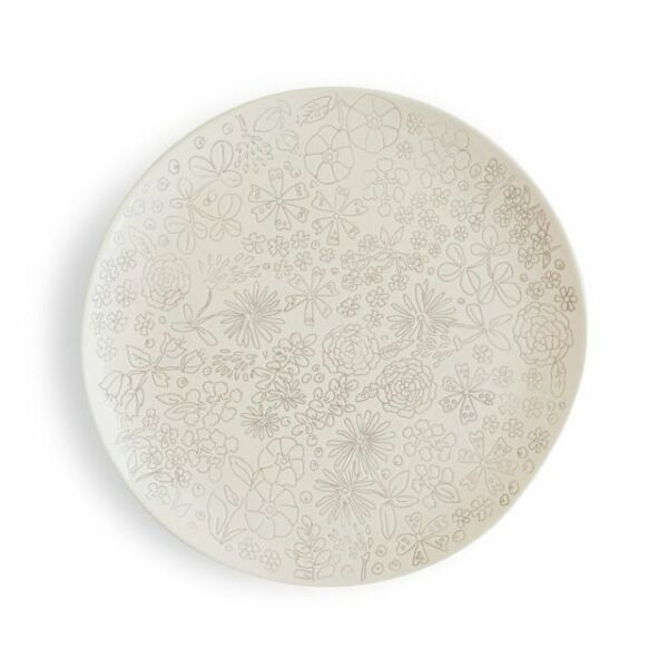 Set of 4 White//Gray Dorotea 5215281 Hand Painted Dinner Plate 10.75-Inch