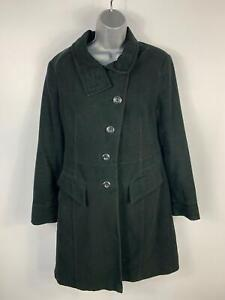 WOMENS-NEXT-BLACK-SMART-CASUAL-LONG-TRENCH-WINTER-COAT-BUTTON-UP-JACKET-SIZE-12