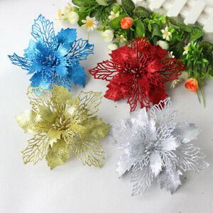Natale-10X-16cm-Grande-Poinsettia-Fiore-Glitter-Albero-Da-Appendere-Festa-Decorazione