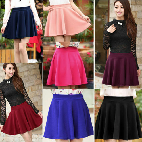 New Women Stretch High Waist Skirt Plain Skater Flared Pleated Sexy Short Dress