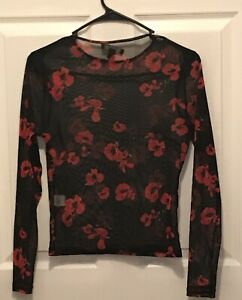 Women-s-Primark-Black-Red-Floral-Long-Sleeve-Thin-Mesh-Top-Size-8