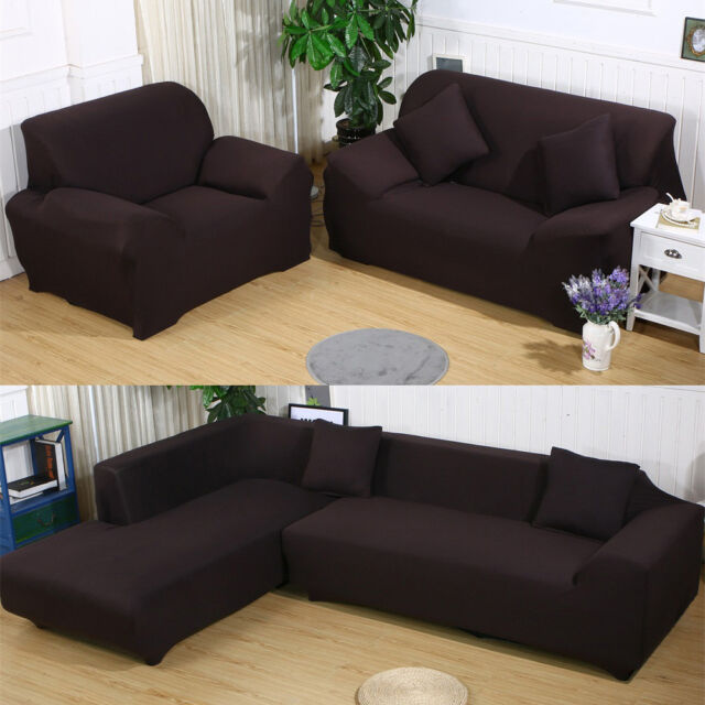 Fashion Solid Color Elastic Sofa Cover Set Couch Stretch Armchair 1