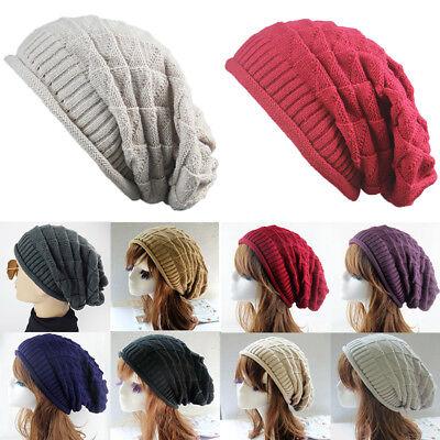 NEW Men Women Knit Baggy Beanie Oversize Winter Hat Unisex Ski Slouchy Skull Cap