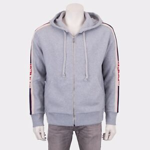 8677516f50 Details about GUCCI 1350$ Authentic New Gray Cotton Hooded Zip-Up  Sweatshirt With Logo Stripe