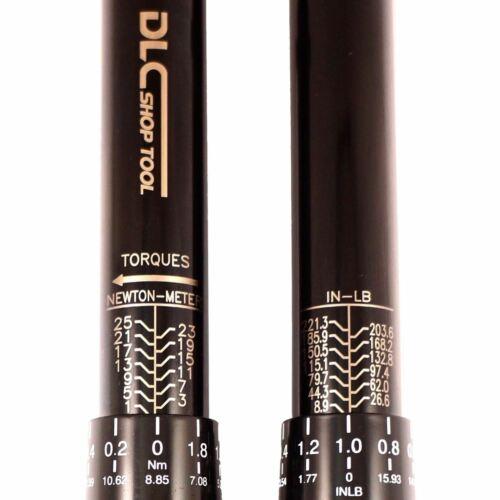 """8.9-221 In-lb Reversible Gauge Torque Wrench DLC Diamond Golden 1//4/"""" 1-25Nm"""