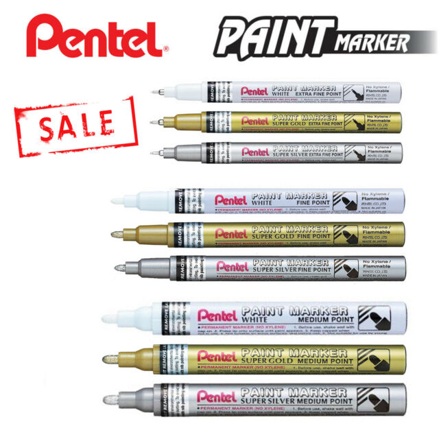 3fbefafb1c8b0 Pentel Paint Marker Extra Fine Point Gold and Silver Mfp10 2 Marker Pens  for sale online