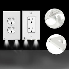 2/5/10Pcs Duplex Night Angel Light Sensor LED Plug Cover Wall Outlet Coverplate
