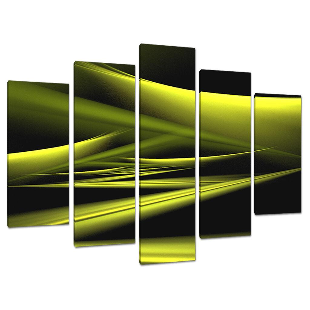 Five Part 5 Abstract toile Lime vert Modern Wall Art Set 5047