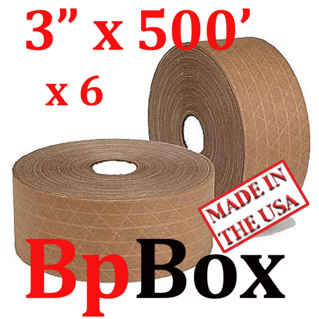 """06 ROLLS SEALING Reinforced water activated TAPE ROLL TAN KRAFT 3"""" X 500'"""
