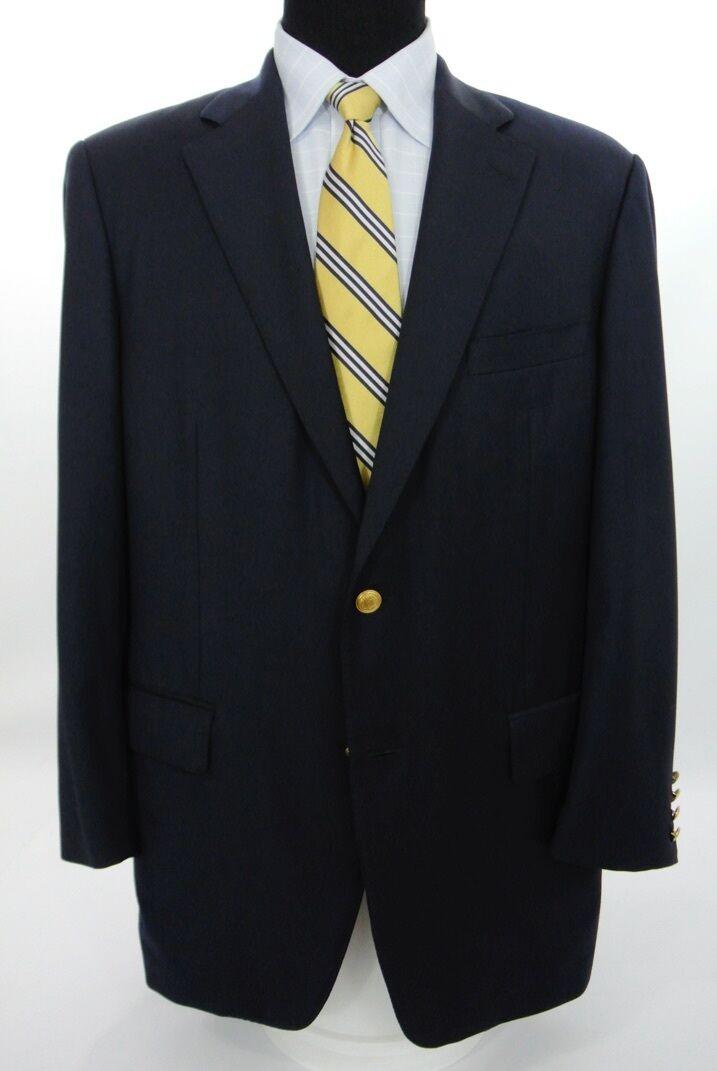 Samuelsohn 2 Btn Navy bluee Blazer Sport Coat Super 110's Wool Side Vents 42 L