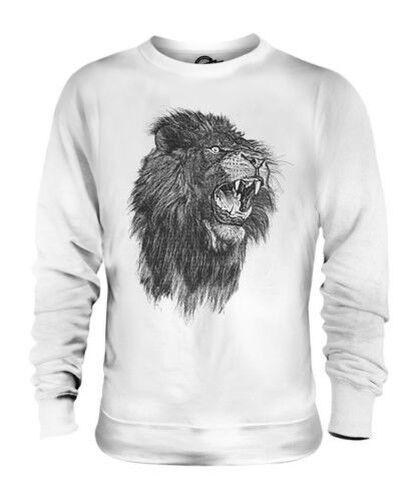 Roaring Lion Sketch Unisexe Imprimé Pull Gros Chat Roi de la Animaux