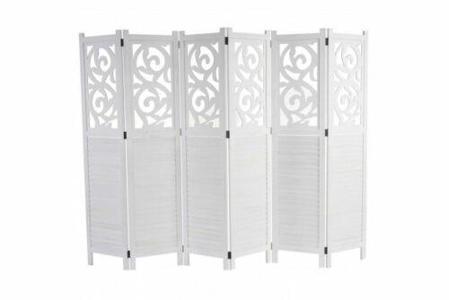 Paravent weiß 170x240 Trennwand Raumteiler Raumtrenner Paravant Holz Ornamente