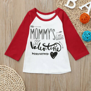 Toddler-Kid-Baby-Boys-Girls-Valentine-039-s-Day-Clothes-Letter-Printed-Tops-T-Shirt