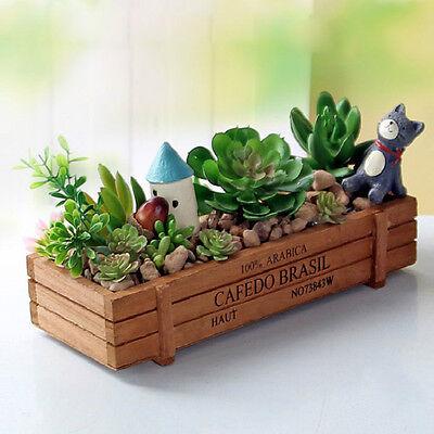 Wooden Garden Flower Herb Planter Succulent Pot Trough Box Plant Bed Case Decor