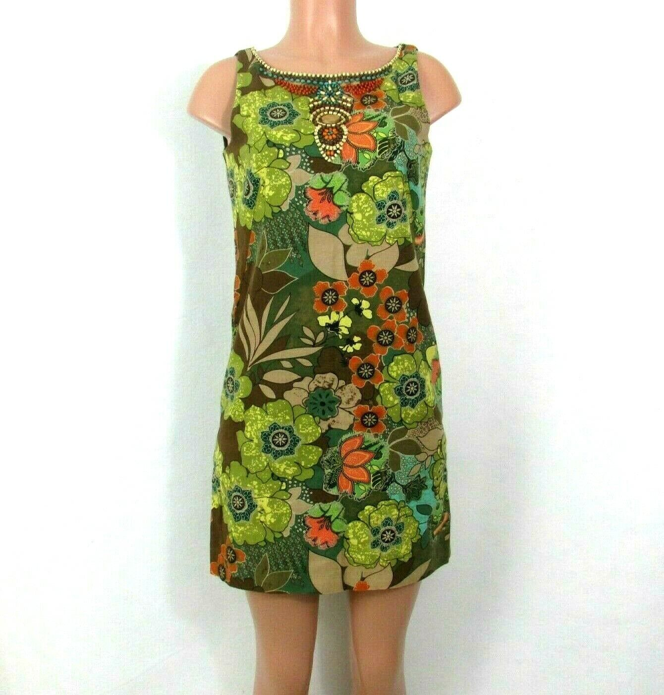 Signature by Robbie Bee Dress 6P Wooden Beaded Neckline Multi-Color Floral Linen