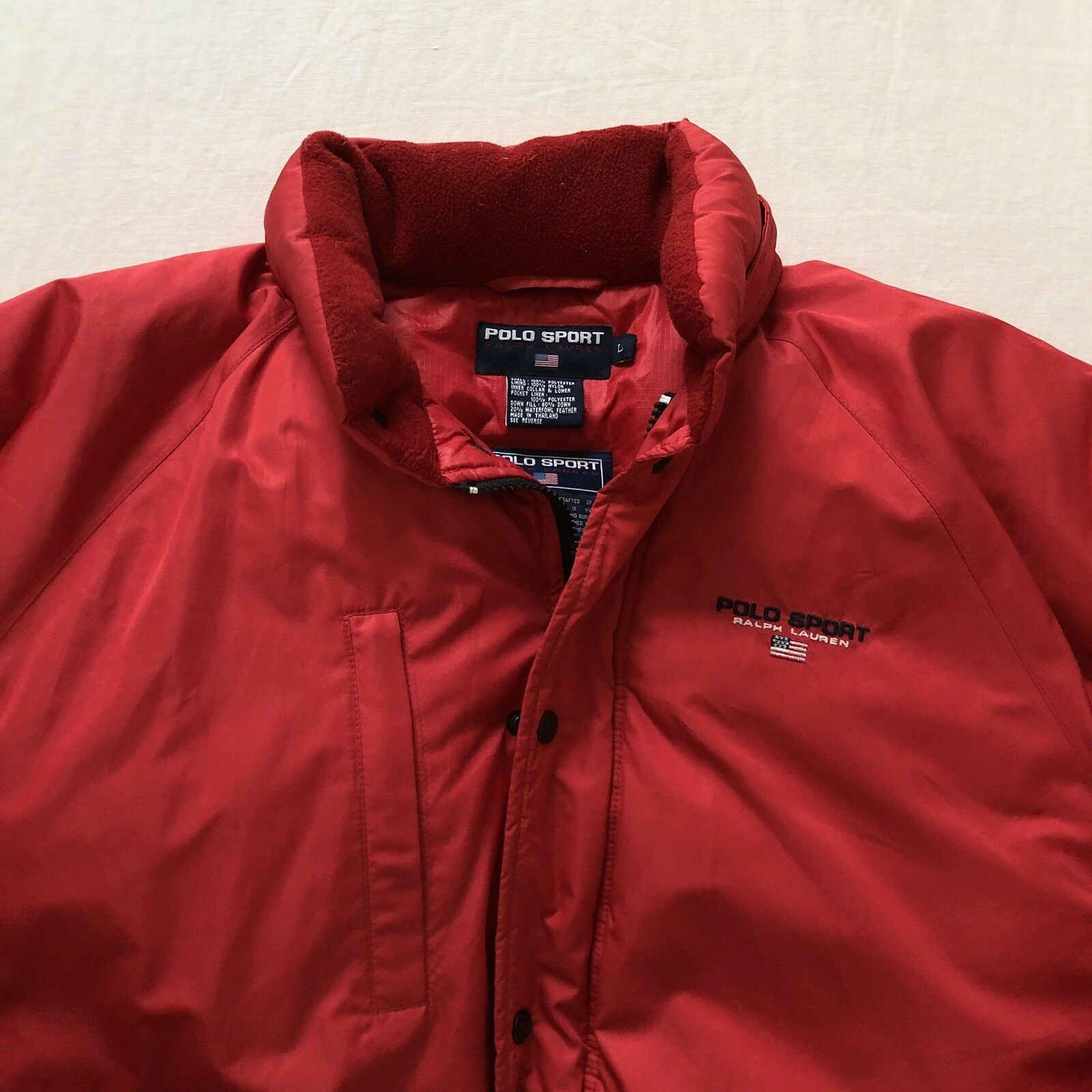 Vintage Men's POLO RALPH LAUREN SPORT Flag Red Zip Down Coat Size Large RARE
