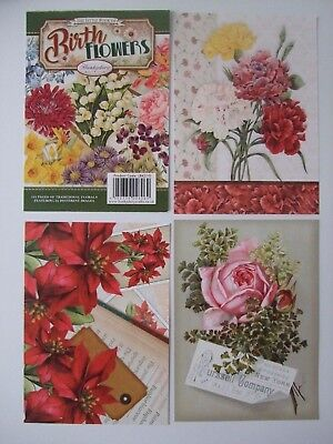"Hunkydory 24 different Little Book of Card Toppers /""Birth Flowers/"" see pictures"