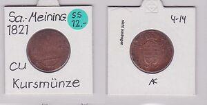 3 Pfennig Kupfer Münze Sachsen-coburg-saalfeld 1821 Eine Lange Historische Stellung Haben 120733