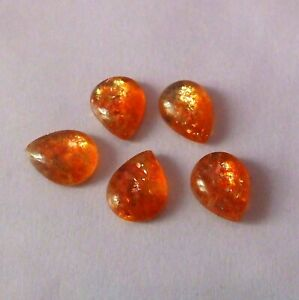 3 Pieces 12X9 MM Pear Shape Natural Fire Sunstone Cabochon Cut Untreated Calibrated Loose Gemstone Lot 9X12 MM Pear Cut Fire Sunstone