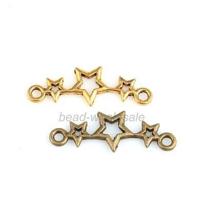 New 50Pcs Three Star Necklace Jewelry DIY Craft Charm Connectors