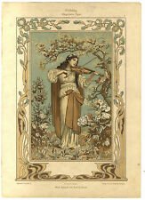 CHROMO LITHO ANCIENNE FEMMES MUSIQUE VIOLON  ART NOUVEAU DECORATION