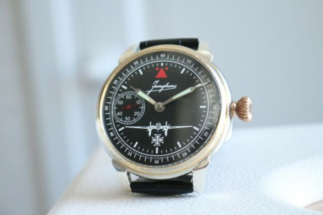 JUNGHANS Vintage 1930`s MILITARY PILOT Engraved SILVER Men`s German Watch