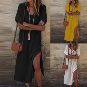 PD-Damen-V-ausschnitt-Kleid-Side-Split-Kurzarm-Lang-Hemdkleid-Bluse-Shirt-Tunika