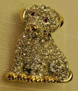 NWOT-Goldtone-and-Clear-Rhinestone-Puppy-Dog-3-4-034-x-1-1-8-034