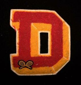 """VINTAGE 1960'S-1970'S SCHOOL TENNIS RED AND GOLD PATCH 6"""" X 6 1/2"""""""