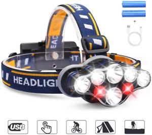 LED Headlamp,MOSFiATA Super Bright 13000 Lumens Rechargeable Headlight,90 Degree
