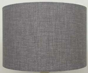 Image Is Loading Silver Grey Linen Style Drum Lampshades Ceiling Light