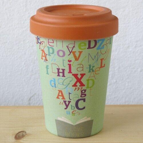 Bamboo Cup Coffee to go Becher Bambus I love books Buchstaben Kaffeebecher