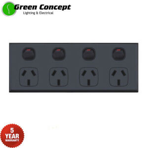 NEW-Black-Quad-Power-Point-GPO-Four-4-Gang-Socket-Outlet-Powerpoint-5-YR-WRNTY