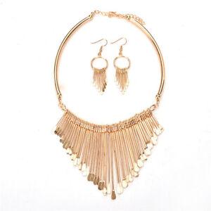 Fashion-Women-Tassel-Pendant-Chain-Choker-Collar-Bib-Necklace-Jewelry-Set-GiftRA
