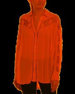 Free People (Anthropologie) NWT Pink Katie Bird Crochet Inset Shirt, Size Medium