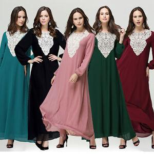 Dubai Women Kaftan Abaya Muslim Long Sleeve Maxi Dress Islamic Jilbab Arab Robe