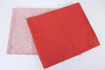 Kinderfolk Jenni Calo Connecting Threads 2 Pcs Red White Quilting Fabric 4+ Yds