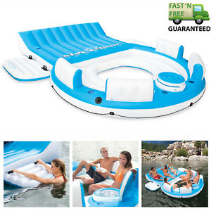 7-Person-Large-Inflatable-Floating-Island-W-Cooler-Lounge-Lake-Party-Pool-Raft