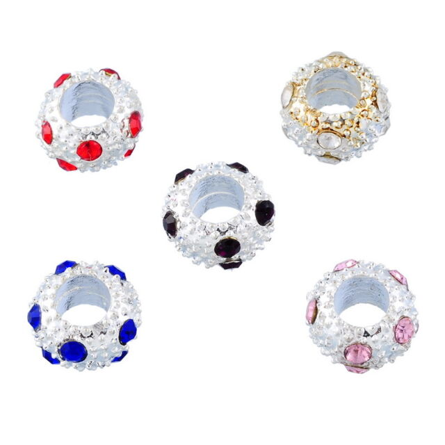 10 Mixed Silver Plated Rhinestone Spacer Beads Fit Charm Bracelet 10mm
