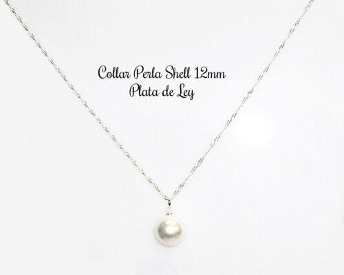 Cadena de 50 cm Plata 925 Nuevo COLLAR de PERLA SHELL 12 MM Y PLATA DE LEY 925