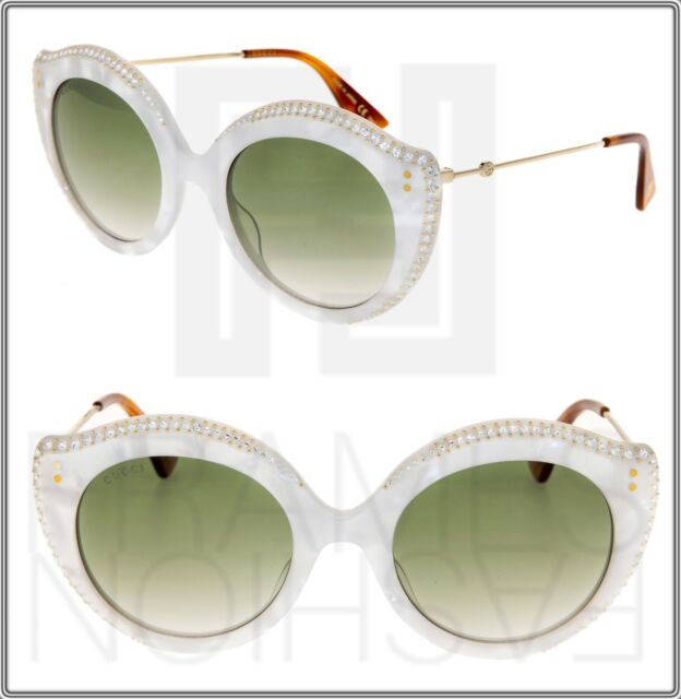 3e825531e1c Frequently bought together. GUCCI CRYSTAL LIPS 0214 Cat Eye White Pearl  Green Gradient Sunglasses GG0214S