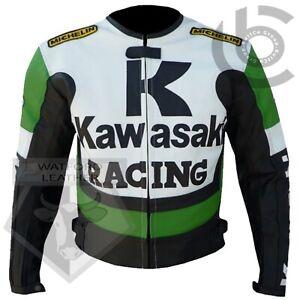 GREEN-MOTORBIKE-MOTORCYCLE-BIKERS-COWHIDE-LEATHER-CE-ARMOURED-PROTECTED-JACKET