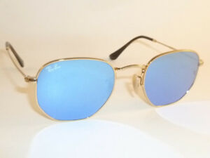9b6e4312da RAY BAN Hexagonal Flat Sunglasses Gold Frame RB 3548N 001 9O Blue ...