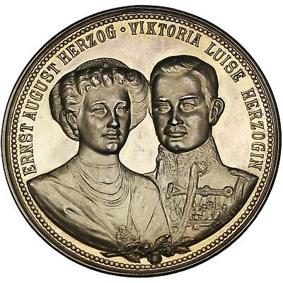100364 | Germany Brunswick 1913 Royal Wedding Silver Medal Toned Proof Marriage