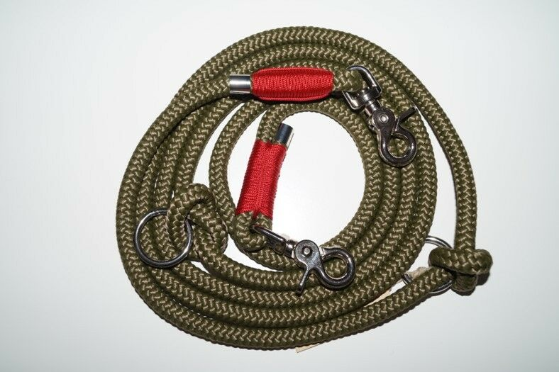 Hundeleine Tau 250cm military Grün imperial rot chrom  | Attraktive Mode