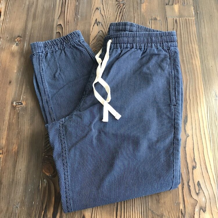 New J.Crew Men's Casual Pants  Elastic Waste and Cuff Size Large Navy Pinstripe