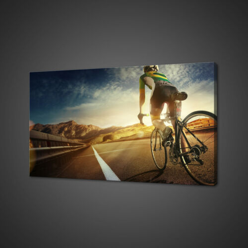 CYCLING TOWARDS SUNSET BIKE BOX MOUNTED CANVAS PRINT WALL ART PICTURE PHOTO
