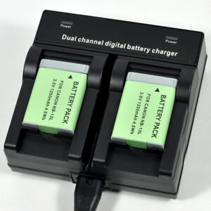 Dual-Charger-2x-Battery-for-Canon-NB-13L-CB-2LHT-G7X-G9X-Mark-II-SX620-SX720-HS